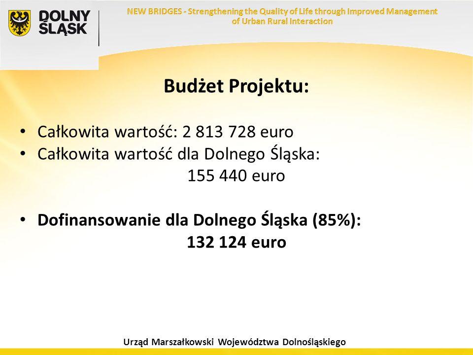 Urząd Marszałkowski Województwa Dolnośląskiego Budżet Projektu: Całkowita wartość: 2 813 728 euro Całkowita wartość dla Dolnego Śląska: 155 440 euro D