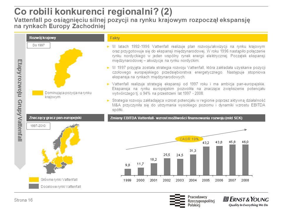 Strona 16 Co robili konkurenci regionalni? (2) Vattenfall po osiągnięciu silnej pozycji na rynku krajowym rozpoczął ekspansję na rynkach Europy Zachod