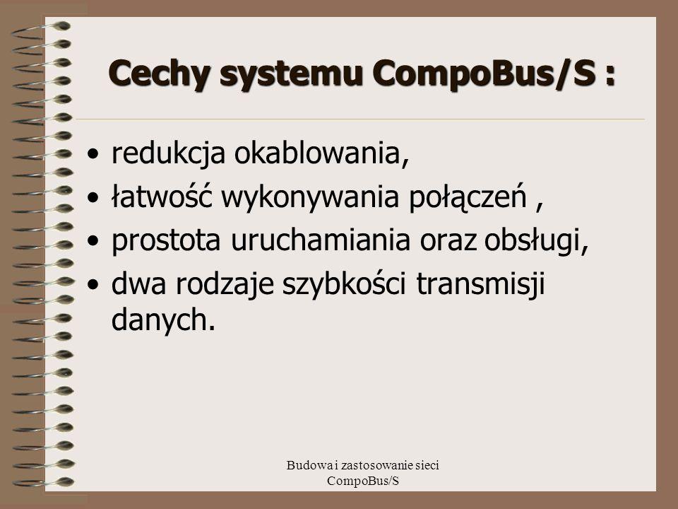 Budowa i zastosowanie sieci CompoBus/S Cechy systemu CompoBus/S : redukcja okablowania, łatwość wykonywania połączeń, prostota uruchamiania oraz obsłu