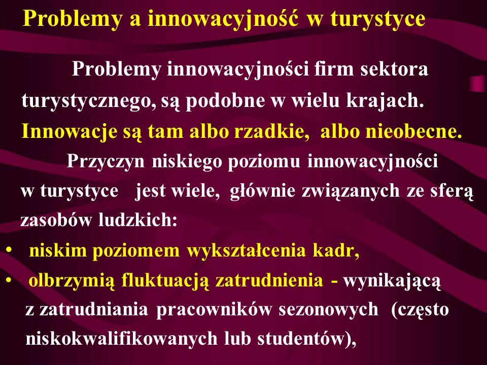 Problemy innowacyjności firm sektora turystycznego, są podobne w wielu krajach. Innowacje są tam albo rzadkie, albo nieobecne. Przyczyn niskiego pozio