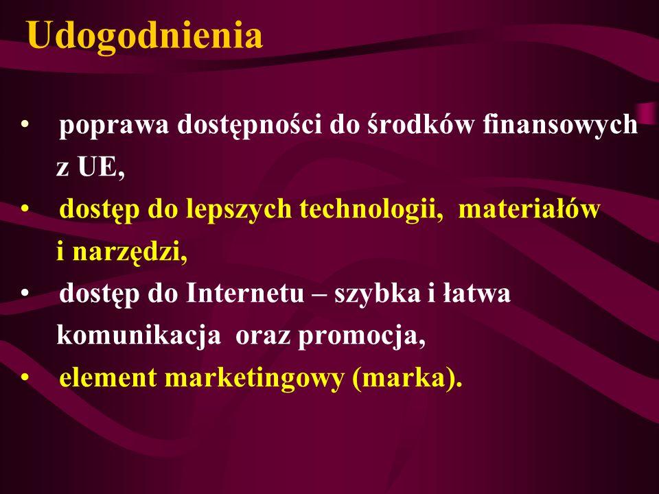 Udogodnienia poprawa dostępności do środków finansowych z UE, dostęp do lepszych technologii, materiałów i narzędzi, dostęp do Internetu – szybka i ła
