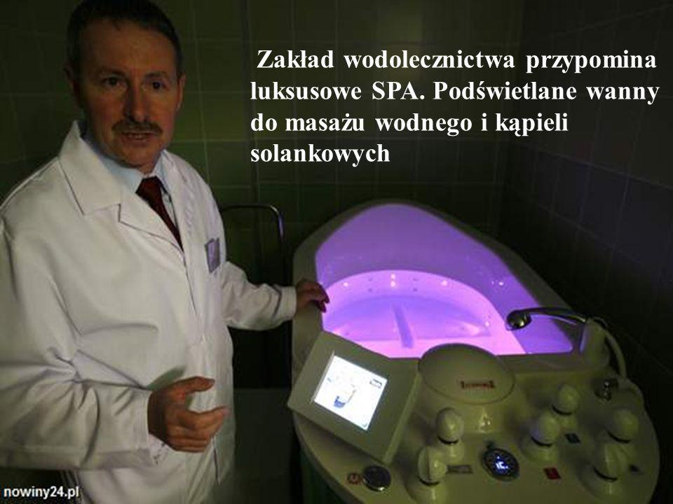 Zakład wodolecznictwa przypomina luksusowe SPA. Podświetlane wanny do masażu wodnego i kąpieli solankowych