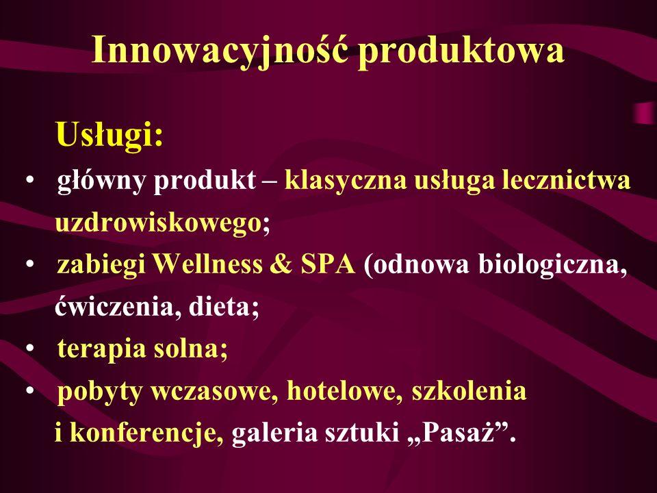 Innowacyjność produktowa Usługi: główny produkt – klasyczna usługa lecznictwa uzdrowiskowego; zabiegi Wellness & SPA (odnowa biologiczna, ćwiczenia, d