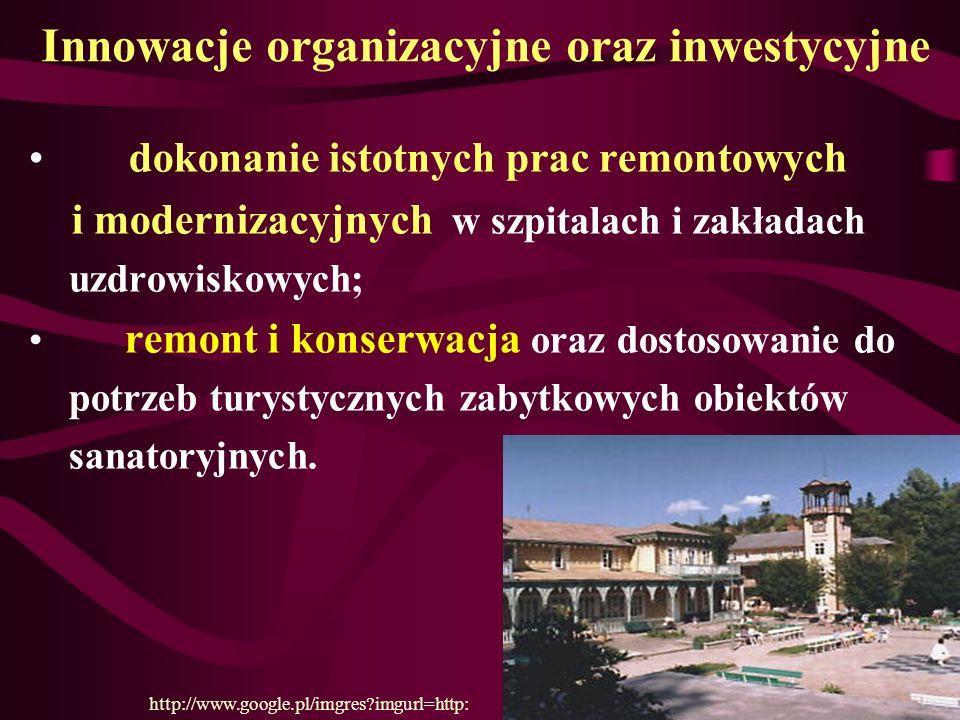 Innowacje organizacyjne oraz inwestycyjne dokonanie istotnych prac remontowych i modernizacyjnych w szpitalach i zakładach uzdrowiskowych; remont i ko