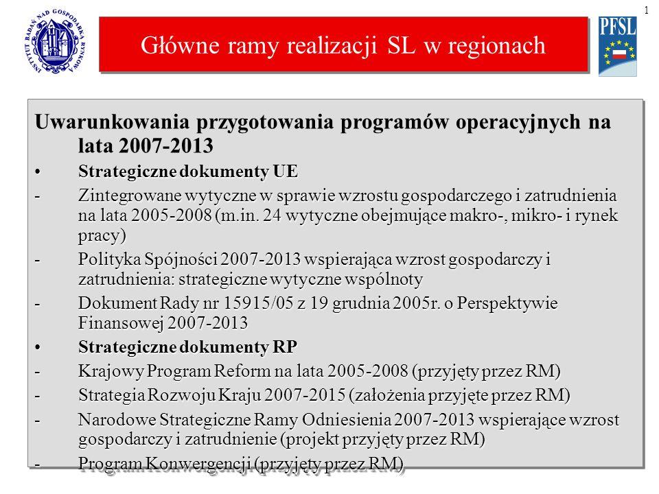 Główne ramy realizacji SL w regionach 1 Główne zasady funkcjonowania EFRR i EFS Europejskie ramy prawneEuropejskie ramy prawne -projekt rozporządzenia Rady ustanawiającego ogólne przepisy dla EFRR, EFS i Funduszu Spójności (z grudnia 2005r.) -projekt rozporządzenia Parlamentu Europejskiego i Rady w sprawie EFRR (i odpowiednio EFS – oba z grudnia 2005r.) Obszary i cele funkcjonowania funduszyObszary i cele funkcjonowania funduszy -cel główny konwergencja (dla polityki spójności), a przez to celem ma być realizacja celów odnowionej SL: wzrost i zatrudnienie -Obszary EFRR: (i) inwestycje produkcyjne, (ii) infrastruktura, (iii) inne rozwojowe, np.
