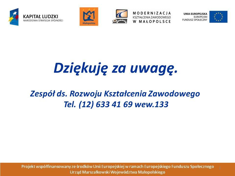 Dziękuję za uwagę. Zespół ds. Rozwoju Kształcenia Zawodowego Tel. (12) 633 41 69 wew.133