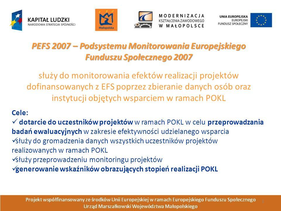 PEFS 2007 – Podsystemu Monitorowania Europejskiego Funduszu Społecznego 2007 służy do monitorowania efektów realizacji projektów dofinansowanych z EFS poprzez zbieranie danych osób oraz instytucji objętych wsparciem w ramach POKL Cele: dotarcie do uczestników projektów w ramach POKL w celu przeprowadzania badań ewaluacyjnych w zakresie efektywności udzielanego wsparcia służy do gromadzenia danych wszystkich uczestników projektów realizowanych w ramach POKL służy przeprowadzeniu monitoringu projektów generowanie wskaźników obrazujących stopień realizacji POKL