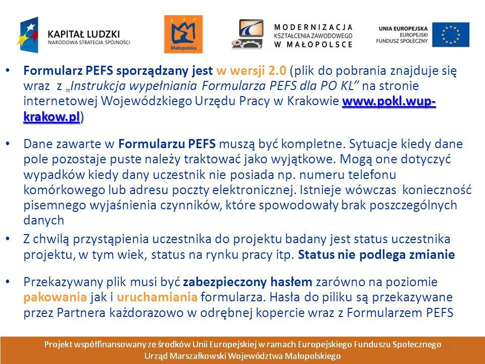 www.pokl.wup- krakow.plwww.pokl.wup- krakow.pl) Formularz PEFS sporządzany jest w wersji 2.0 (plik do pobrania znajduje się wraz z Instrukcja wypełniania Formularza PEFS dla PO KL na stronie internetowej Wojewódzkiego Urzędu Pracy w Krakowie www.pokl.wup- krakow.pl)www.pokl.wup- krakow.pl Dane zawarte w Formularzu PEFS muszą być kompletne.