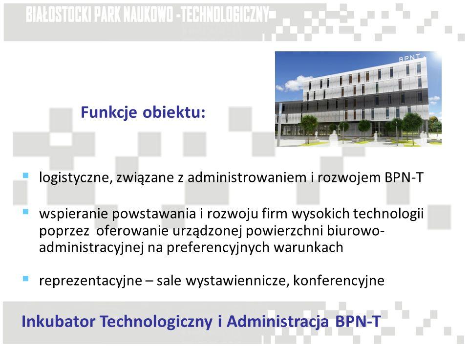 logistyczne, związane z administrowaniem i rozwojem BPN-T wspieranie powstawania i rozwoju firm wysokich technologii poprzez oferowanie urządzonej pow