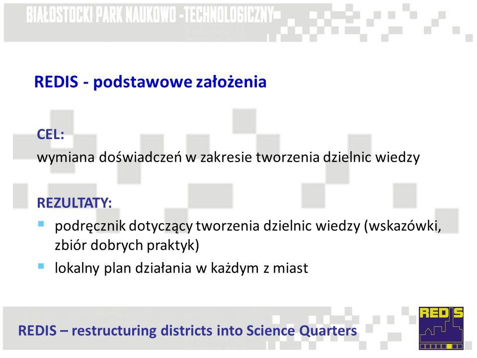 REDIS – restructuring districts into Science Quarters REDIS - podstawowe założenia CEL: wymiana doświadczeń w zakresie tworzenia dzielnic wiedzy REZUL