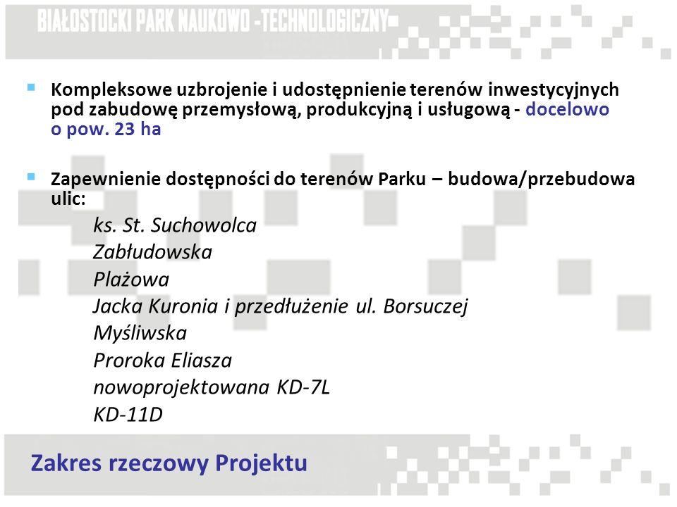 Kompleksowe uzbrojenie i udostępnienie terenów inwestycyjnych pod zabudowę przemysłową, produkcyjną i usługową - docelowo o pow. 23 ha Zapewnienie dos