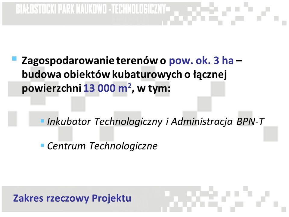 Zagospodarowanie terenów o pow. ok. 3 ha – budowa obiektów kubaturowych o łącznej powierzchni 13 000 m 2, w tym: Inkubator Technologiczny i Administra