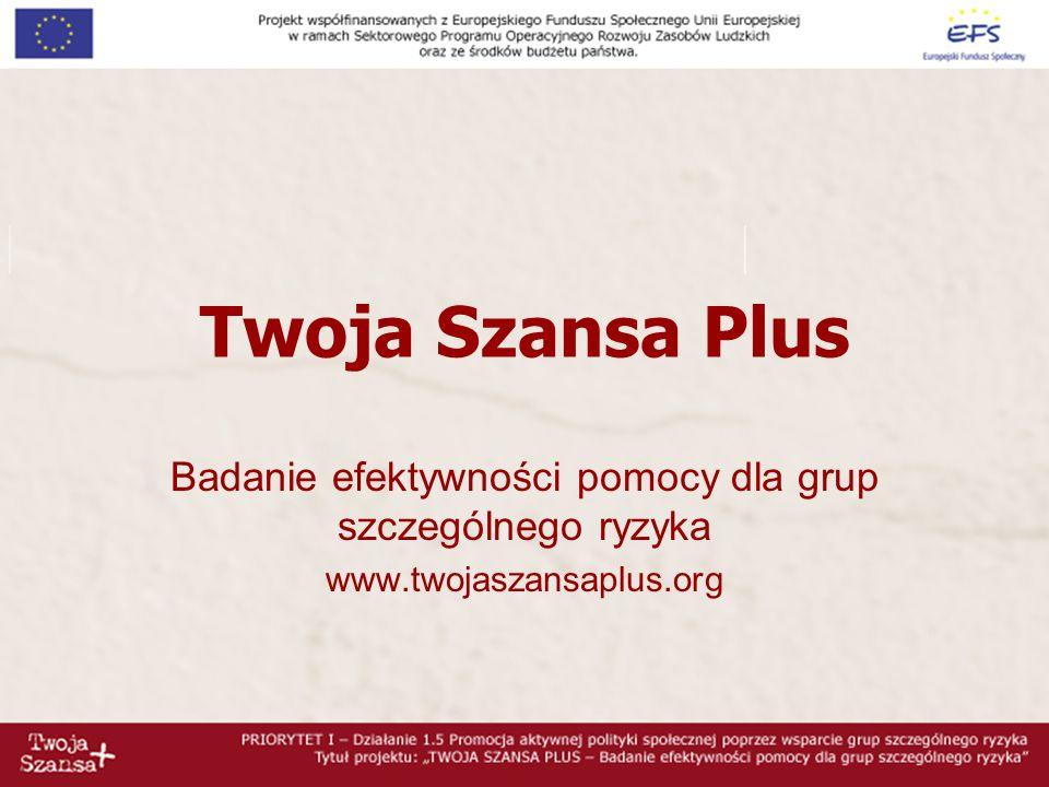 Twoja Szansa Plus Badanie efektywności pomocy dla grup szczególnego ryzyka www.twojaszansaplus.org