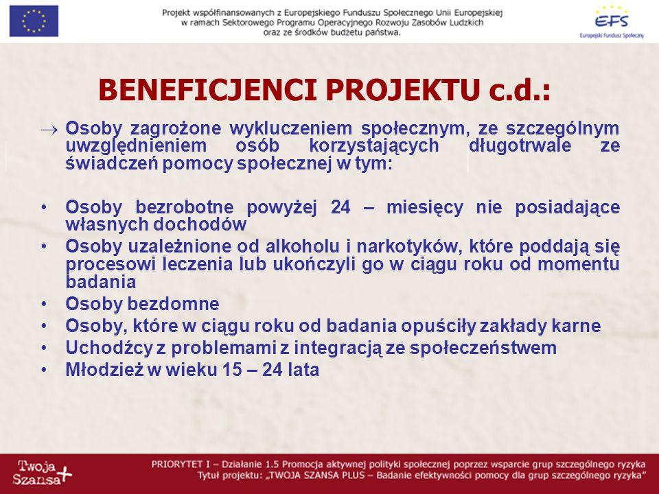 BENEFICJENCI PROJEKTU c.d.: Osoby zagrożone wykluczeniem społecznym, ze szczególnym uwzględnieniem osób korzystających długotrwale ze świadczeń pomocy