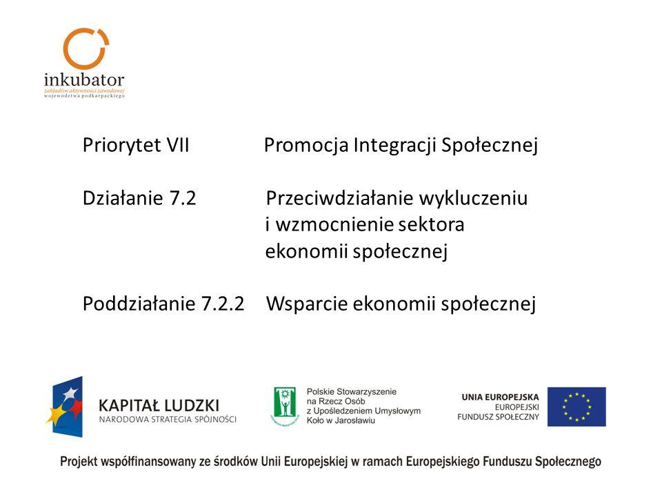 Priorytet VII Promocja Integracji Społecznej Działanie 7.2 Przeciwdziałanie wykluczeniu i wzmocnienie sektora ekonomii społecznej Poddziałanie 7.2.2 Wsparcie ekonomii społecznej