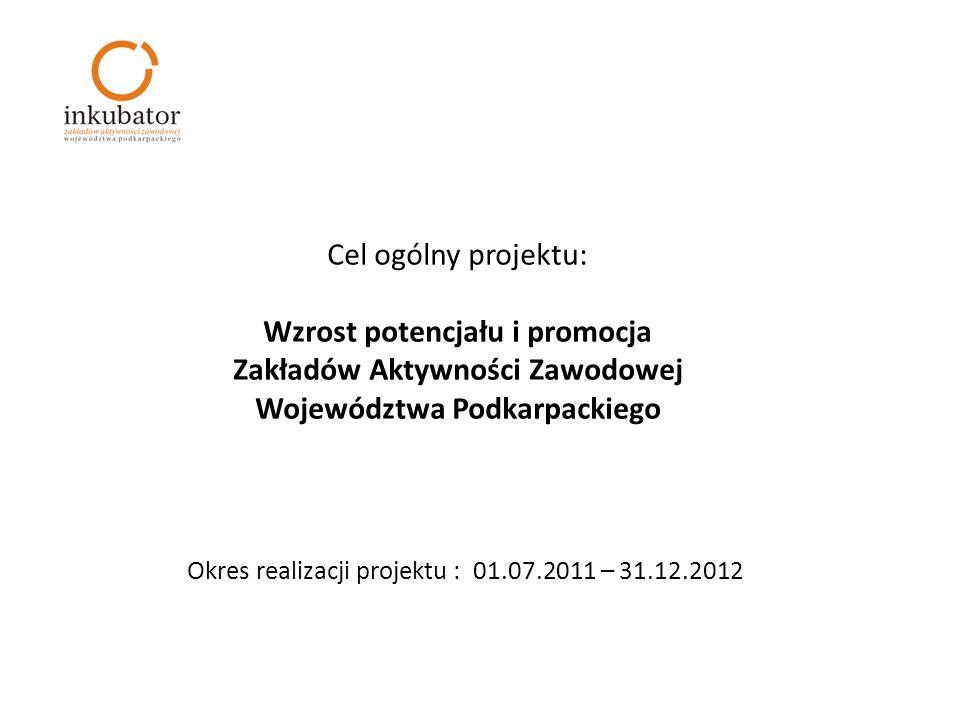 Cel ogólny projektu: Wzrost potencjału i promocja Zakładów Aktywności Zawodowej Województwa Podkarpackiego Okres realizacji projektu : 01.07.2011 – 31.12.2012