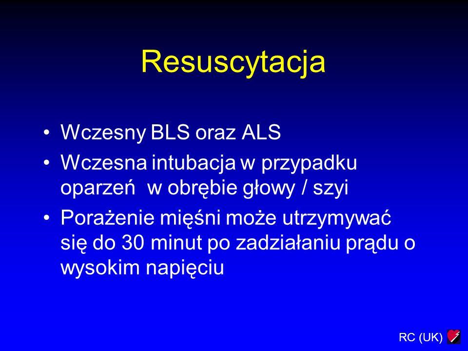 RC (UK) Resuscytacja Wczesny BLS oraz ALS Wczesna intubacja w przypadku oparzeń w obrębie głowy / szyi Porażenie mięśni może utrzymywać się do 30 minu