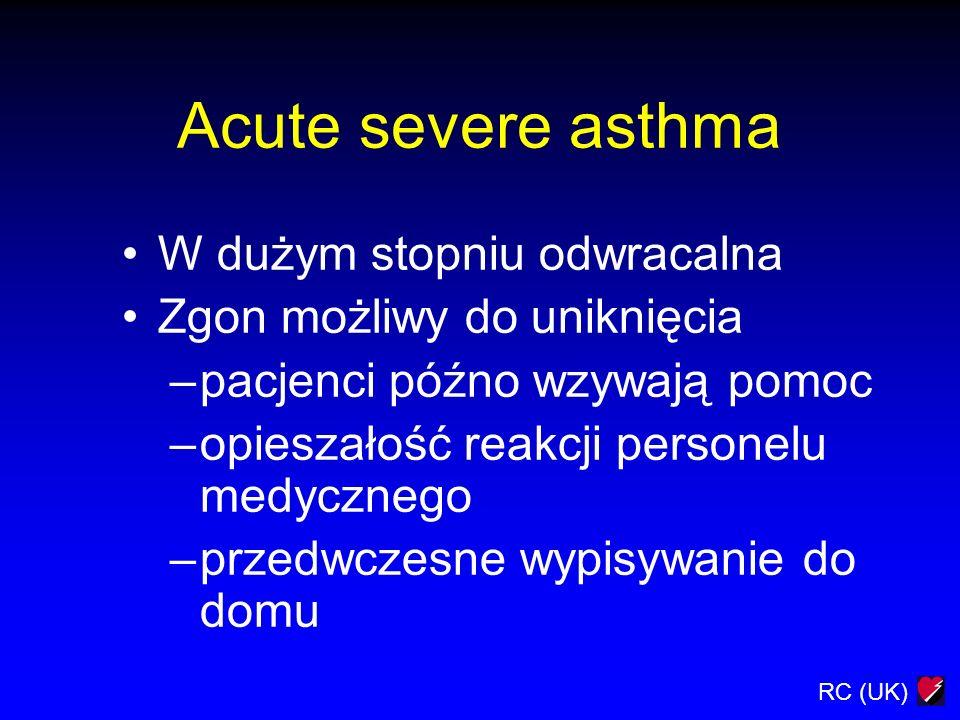 RC (UK) Acute severe asthma W dużym stopniu odwracalna Zgon możliwy do uniknięcia –pacjenci późno wzywają pomoc –opieszałość reakcji personelu medyczn