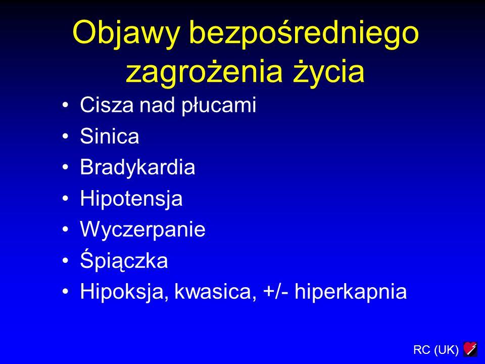 RC (UK) Objawy bezpośredniego zagrożenia życia Cisza nad płucami Sinica Bradykardia Hipotensja Wyczerpanie Śpiączka Hipoksja, kwasica, +/- hiperkapnia