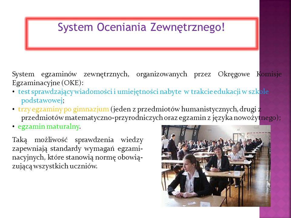 System egzaminów zewnętrznych, organizowanych przez Okręgowe Komisje Egzaminacyjne (OKE): test sprawdzający wiadomości i umiejętności nabyte w trakcie