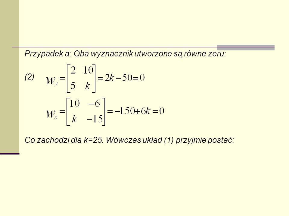 Przypadek a: Oba wyznacznik utworzone są równe zeru: (2) Co zachodzi dla k=25. Wówczas układ (1) przyjmie postać:
