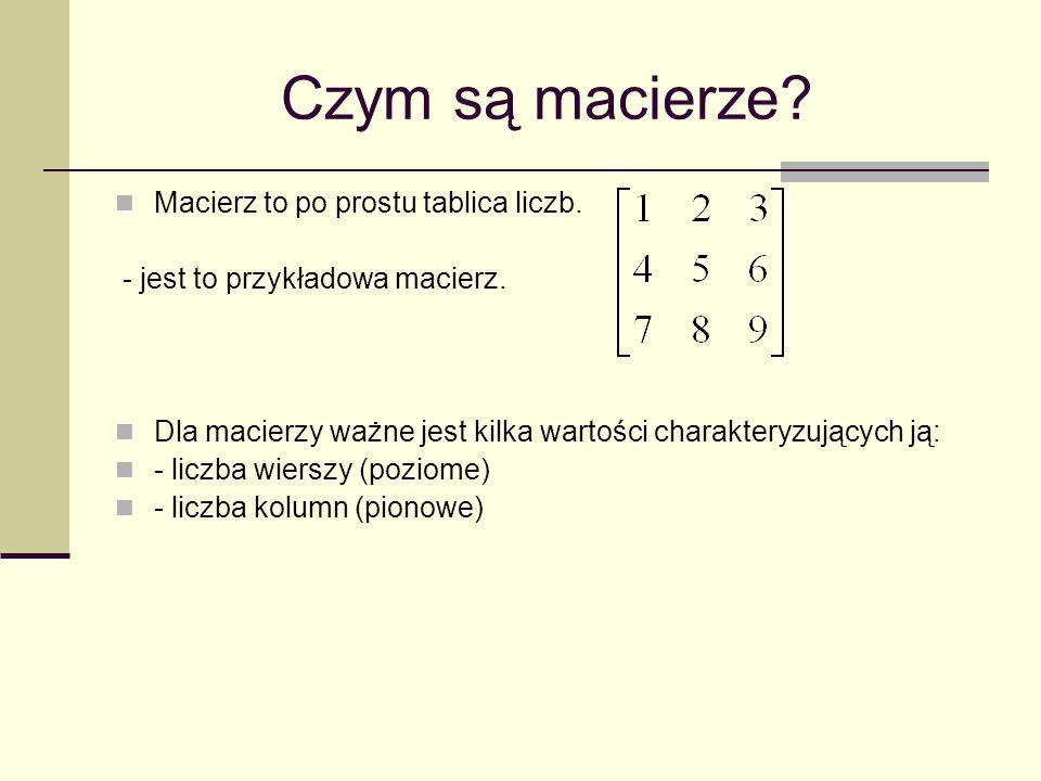 Czym są macierze? Macierz to po prostu tablica liczb. - jest to przykładowa macierz. Dla macierzy ważne jest kilka wartości charakteryzujących ją: - l