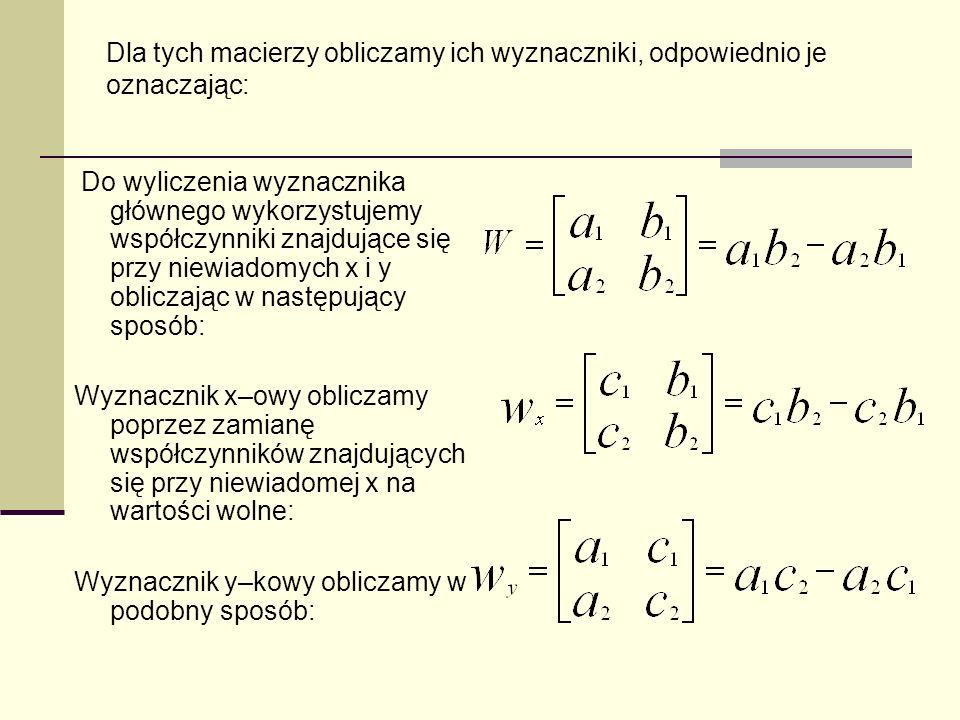 Dla tych macierzy obliczamy ich wyznaczniki, odpowiednio je oznaczając: Do wyliczenia wyznacznika głównego wykorzystujemy współczynniki znajdujące się