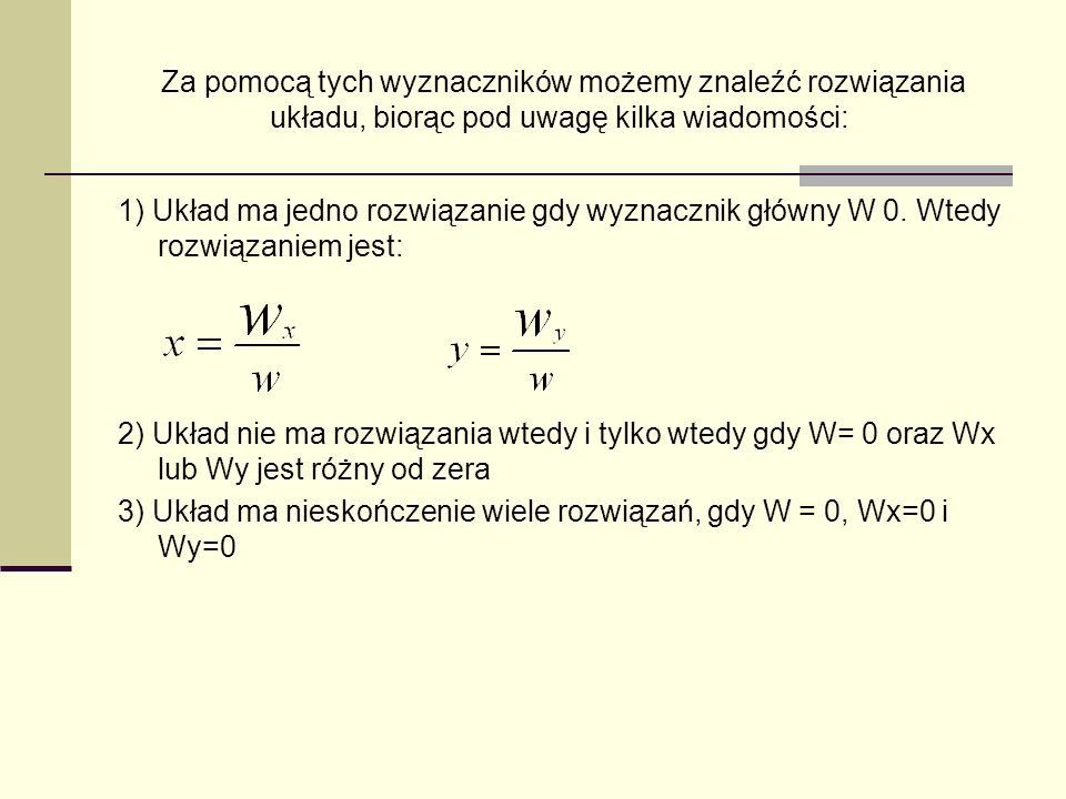 Za pomocą tych wyznaczników możemy znaleźć rozwiązania układu, biorąc pod uwagę kilka wiadomości: 1) Układ ma jedno rozwiązanie gdy wyznacznik główny