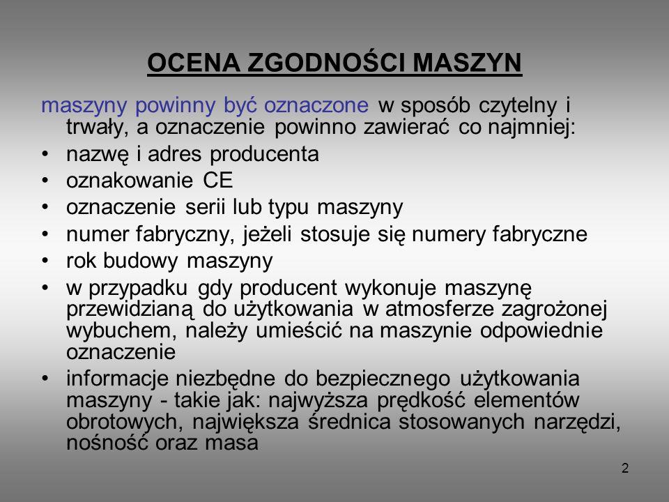 2 OCENA ZGODNOŚCI MASZYN maszyny powinny być oznaczone w sposób czytelny i trwały, a oznaczenie powinno zawierać co najmniej: nazwę i adres producenta