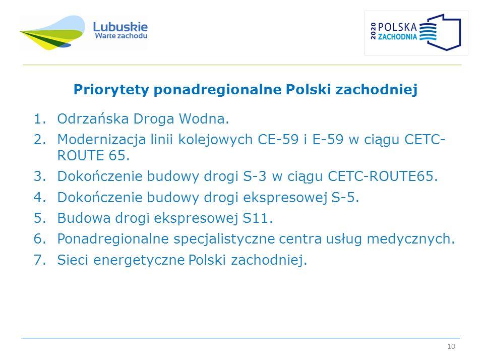 10 Priorytety ponadregionalne Polski zachodniej 1.Odrzańska Droga Wodna. 2.Modernizacja linii kolejowych CE-59 i E-59 w ciągu CETC- ROUTE 65. 3.Dokońc