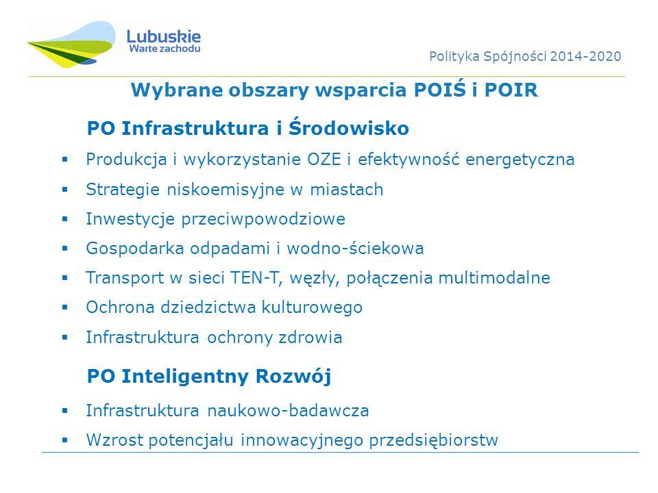 PO Infrastruktura i Środowisko Produkcja i wykorzystanie OZE i efektywność energetyczna Strategie niskoemisyjne w miastach Inwestycje przeciwpowodziow