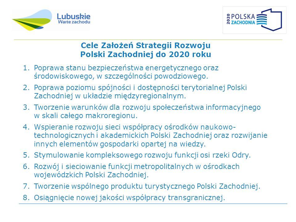 Cele Założeń Strategii Rozwoju Polski Zachodniej do 2020 roku 1.Poprawa stanu bezpieczeństwa energetycznego oraz środowiskowego, w szczególności powod