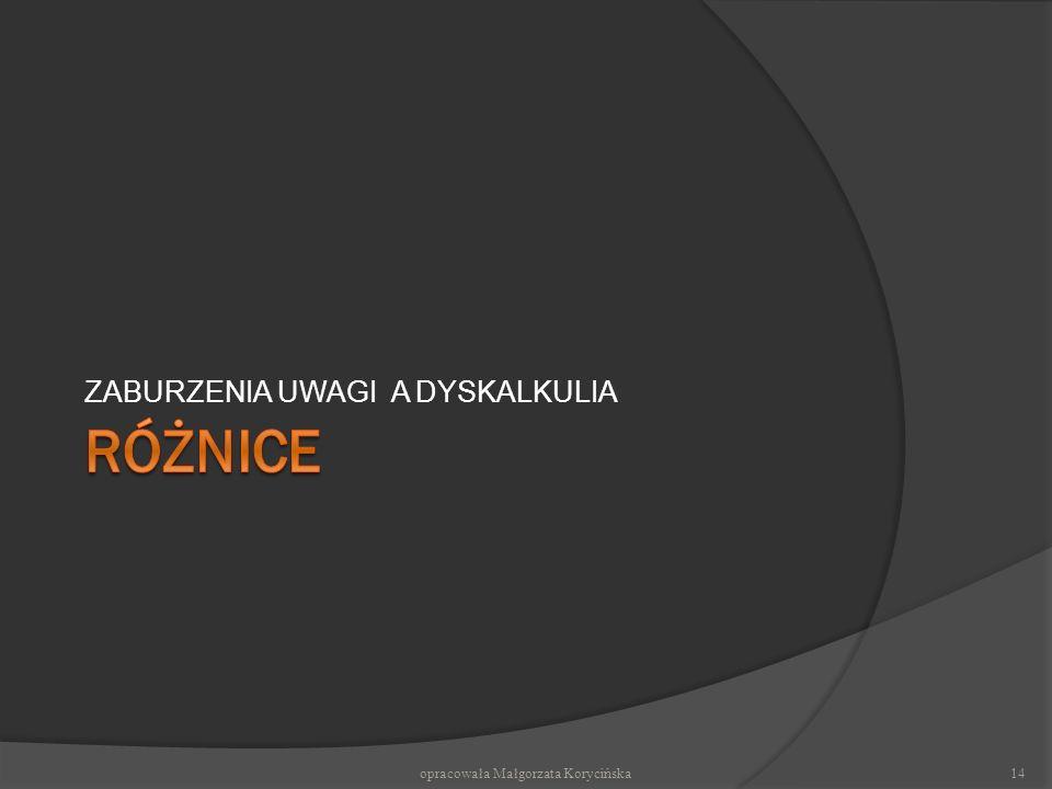 ZABURZENIA UWAGI A DYSKALKULIA opracowała Małgorzata Korycińska14