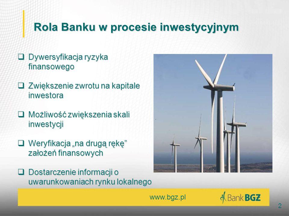 www.bgz.pl 2 Rola Banku w procesie inwestycyjnym Dywersyfikacja ryzyka finansowego Dywersyfikacja ryzyka finansowego Zwiększenie zwrotu na kapitale in