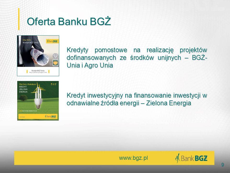 www.bgz.pl 9 Oferta Banku BGŻ Kredyty pomostowe na realizację projektów dofinansowanych ze środków unijnych – BGŻ- Unia i Agro Unia Kredyt inwestycyjn