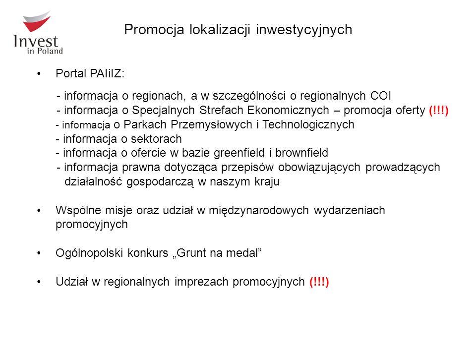 Portal PAIiIZ: - informacja o regionach, a w szczególności o regionalnych COI - informacja o Specjalnych Strefach Ekonomicznych – promocja oferty (!!!