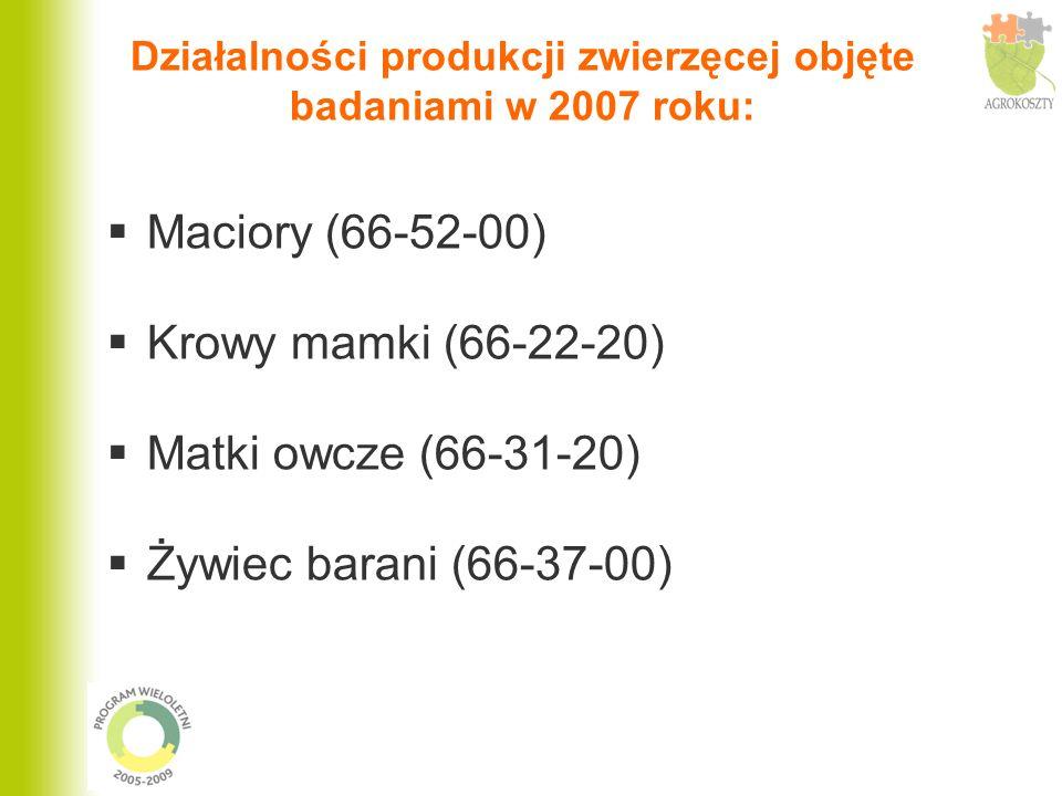 Działalności produkcji zwierzęcej objęte badaniami w 2007 roku: Maciory (66-52-00) Krowy mamki (66-22-20) Matki owcze (66-31-20) Żywiec barani (66-37-