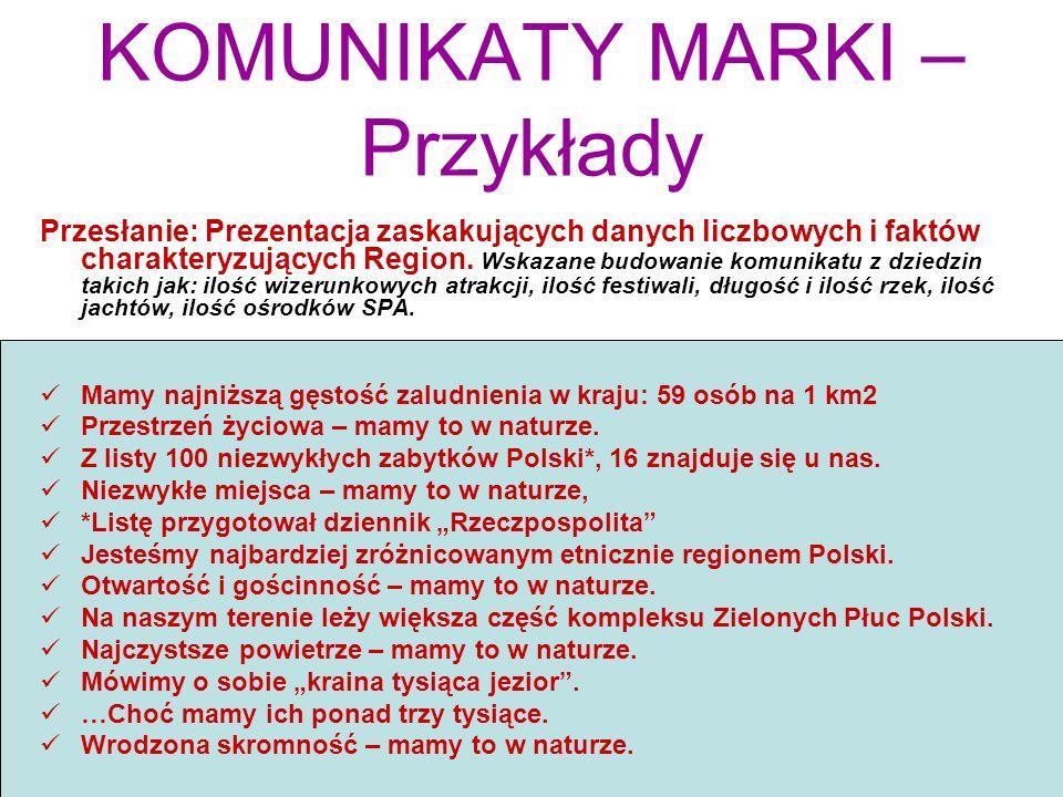 KOMUNIKATY MARKI – Przykłady Przesłanie: Prezentacja zaskakujących danych liczbowych i faktów charakteryzujących Region. Wskazane budowanie komunikatu