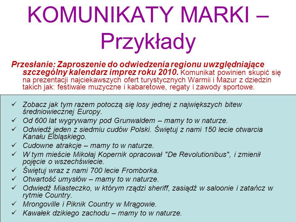 KOMUNIKATY MARKI – Przykłady Przesłanie: Zaproszenie do odwiedzenia regionu uwzględniające szczególny kalendarz imprez roku 2010. Komunikat powinien s