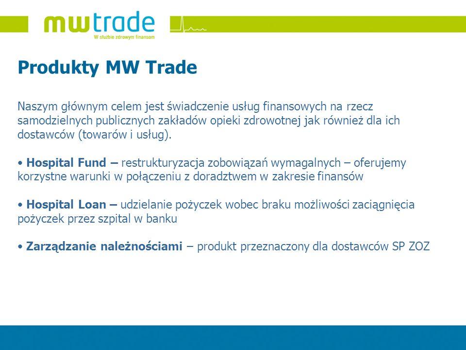 Produkty MW Trade Naszym głównym celem jest świadczenie usług finansowych na rzecz samodzielnych publicznych zakładów opieki zdrowotnej jak również dl