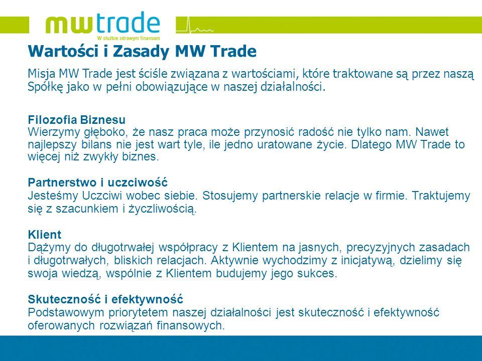 Wartości i Zasady MW Trade Misja MW Trade jest ściśle związana z wartościami, które traktowane są przez naszą Spółkę jako w pełni obowiązujące w nasze