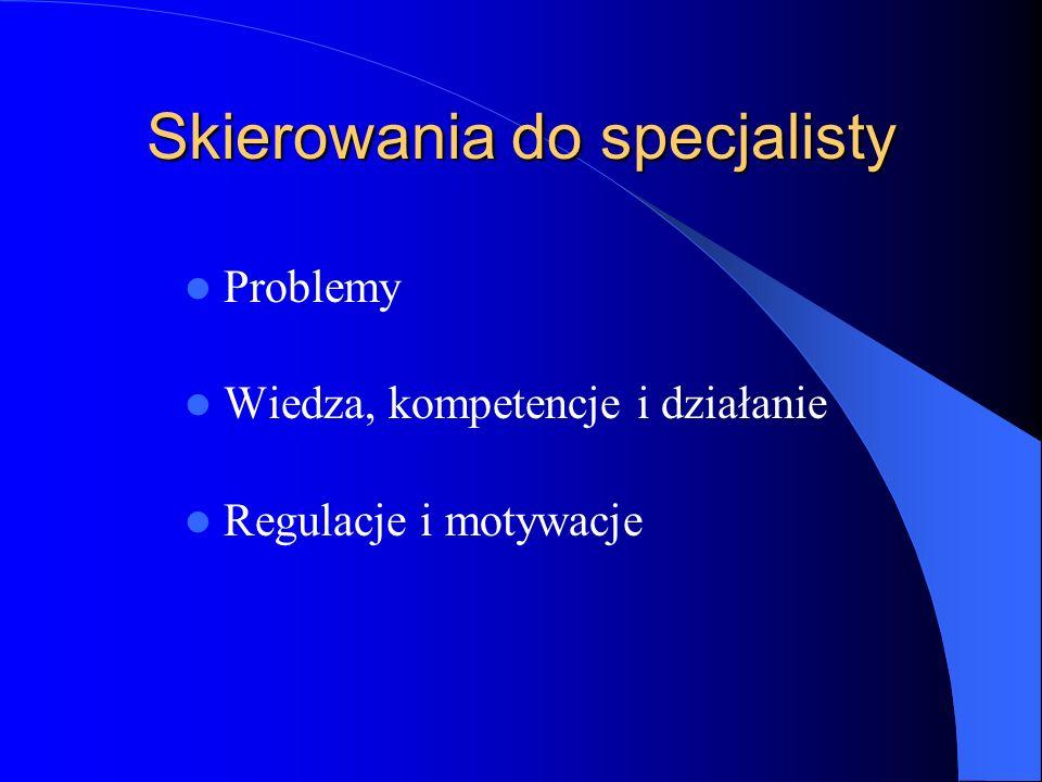 Skierowania do specjalisty Problemy Wiedza, kompetencje i działanie Regulacje i motywacje
