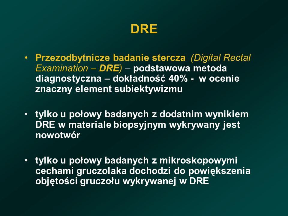 DRE Przezodbytnicze badanie stercza (Digital Rectal Examination – DRE) – podstawowa metoda diagnostyczna – dokładność 40% - w ocenie znaczny element subiektywizmu tylko u połowy badanych z dodatnim wynikiem DRE w materiale biopsyjnym wykrywany jest nowotwór tylko u połowy badanych z mikroskopowymi cechami gruczolaka dochodzi do powiększenia objętości gruczołu wykrywanej w DRE