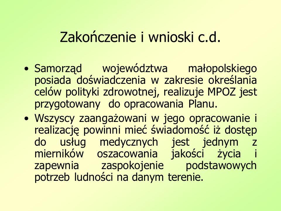 Zakończenie i wnioski c.d. Samorząd województwa małopolskiego posiada doświadczenia w zakresie określania celów polityki zdrowotnej, realizuje MPOZ je