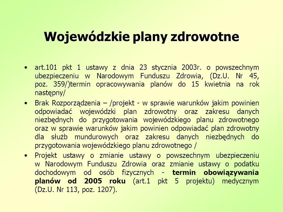 Wojewódzkie plany zdrowotne art.101 pkt 1 ustawy z dnia 23 stycznia 2003r. o powszechnym ubezpieczeniu w Narodowym Funduszu Zdrowia, (Dz.U. Nr 45, poz