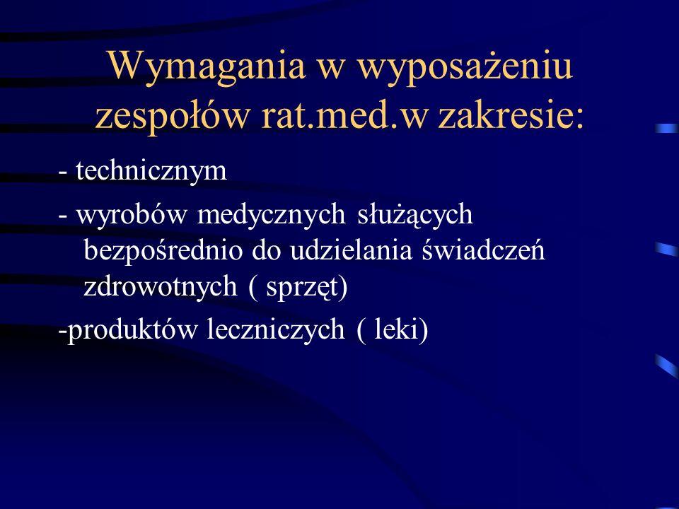 Wymagania w wyposażeniu zespołów rat.med.w zakresie: - technicznym - wyrobów medycznych służących bezpośrednio do udzielania świadczeń zdrowotnych ( s