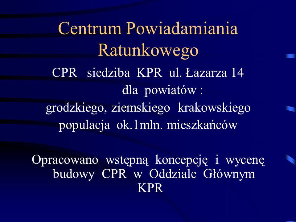 Centrum Powiadamiania Ratunkowego CPR siedziba KPR ul. Łazarza 14 dla powiatów : grodzkiego, ziemskiego krakowskiego populacja ok.1mln. mieszkańców Op