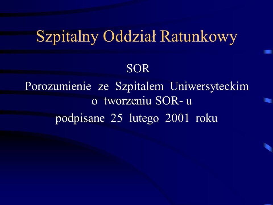 Szpitalny Oddział Ratunkowy SOR Porozumienie ze Szpitalem Uniwersyteckim o tworzeniu SOR- u podpisane 25 lutego 2001 roku