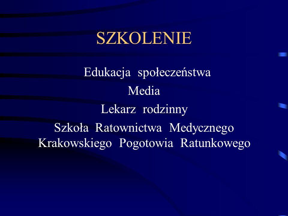 SZKOLENIE Edukacja społeczeństwa Media Lekarz rodzinny Szkoła Ratownictwa Medycznego Krakowskiego Pogotowia Ratunkowego