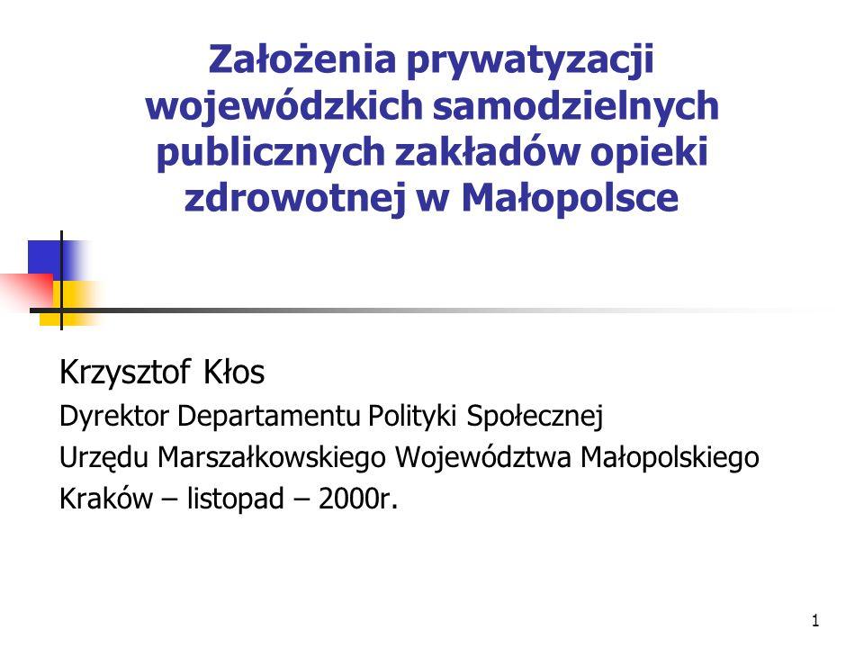1 Założenia prywatyzacji wojewódzkich samodzielnych publicznych zakładów opieki zdrowotnej w Małopolsce Krzysztof Kłos Dyrektor Departamentu Polityki